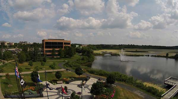 office space, aerial, photo, video